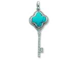 Sterling Silver Dyed Howlite Clover Top Cubic Zirconia Key Pendant - Chain Included style: QP1981