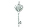 Sterling Silver Cubic Zirconia Heart Top Key Pendant - Chain Included style: QP2030