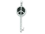 Sterling Silver Black And Clear Cubic Zirconia Peace Sign Top Key Pendant - Chain Included style: QP2031