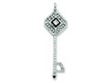 Sterling Silver Enameled Cubic Zirconia Square Key Pendant - Chain Included style: QP2042