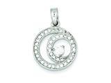Sterling Silver Circle Cubic Zirconia Pendant - Chain Included style: QP2062