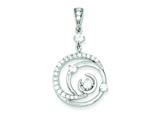 Sterling Silver Fancy Swirl W/ Cubic Zirconia Circle Pendant - Chain Included style: QP2065