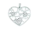 Sterling Silver Polished and Cubic Zirconia Hearts Pendant - Chain Included style: QP2071