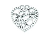 Sterling Silver Heart and Circles Cubic Zirconia Pendant - Chain Included style: QP2073