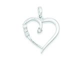 Sterling Silver and Cubic Zirconia Polished Heart Pendant - Chain Included style: QP2074