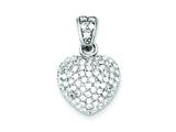 Sterling Silver Cubic Zirconia Heart Pendant - Chain Included style: QP2075