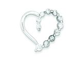 Sterling Silver and Cubic Zirconia Polished Heart Pendant - Chain Included style: QP2084