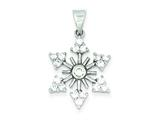 Sterling Silver Cubic Zirconia Snowflake Pendant - Chain Included style: QP2087