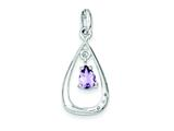 Sterling Silver Diamond Accent And Amethyst Teardrop Pendant - Chain Included style: QP2091