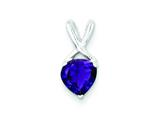 Sterling Silver Polished Amethyst Fancy Pendant - Chain Included style: QP2092