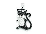 Sterling Silver Black and White Cubic Zirconia Cool Cat Pendant - Chain Included style: QP2095