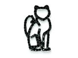 Sterling Silver Black Cubic Zirconia W/ Black Rhodium Plating Cat Slide Pendant - Chain Included style: QP2097