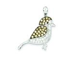 Sterling Silver Clear and Champagne Cubic Zirconia Bird Pendant - Chain Included style: QP2098