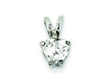 Sterling Silver Heart Cubic Zirconia Pendant - Chain Included style: QP20