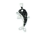 Sterling Silver Black and White Cubic Zirconia Dolphin Pendant - Chain Included style: QP2115