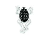Sterling Silver Black and White Cubic Zirconia Frog Pendant - Chain Included style: QP2117