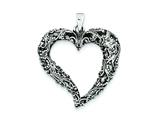 Sterling Silver Antiqued and Polished Heart Pendant - Chain Included style: QP2119
