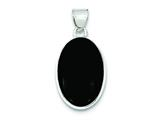 Sterling Silver Onyx Polished Oval Pendant - Chain Included style: QP2123