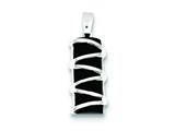 Sterling Silver Black Stone Polished Pendant - Chain Included style: QP2125