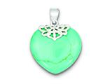 Sterling Silver Turquoise Heart Stone Pendant - Chain Included style: QP2128