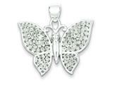 Sterling Silver Polished and Textured Butterfly Pendant - Chain Included style: QP2139