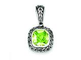 Sterling Silver Antiqued Light Green Cubic Zirconia Pendant - Chain Included style: QP2151