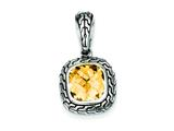 Sterling Silver Antiqued Champagne Cubic Zirconia Pendant - Chain Included style: QP2152