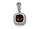 Sterling Silver Antiqued Brown Cubic Zirconia Pendant - Chain Included style: QP2153