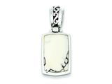 Sterling Silver Reversible White Turquoise Pendant - Chain Included style: QP221