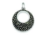 Sterling Silver Round Antiqued Pendant - Chain Included style: QP2411