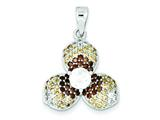 Sterling Silver Tri-color Cubic Zirconia Flower Pendant - Chain Included style: QP2420
