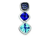 Sterling Silver Antiqued Blue Cubic Zirconia Pendant Slide - Chain Included style: QP2423