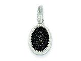 Sterling Silver Black Cubic Zirconia Oval Post Pendant - Chain Included style: QP2427