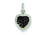 Sterling Silver Black Cubic Zirconia Heart Post Pendant - Chain Included style: QP2428