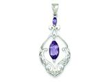Sterling Silver Amethyst Fancy Pendant Necklace - Chain Included style: QP2431