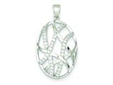 Sterling Silver Cubic Zirconia Oval Pendant - Chain Included style: QP2433