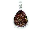 Sterling Silver And Multi-colored Druzy Pendant - Chain Included style: QP2435