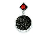 Sterling Silver With Black Druzy And Red Cubic Zirconia Round Pendant - Chain Included style: QP2437