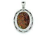 Sterling Silver And Multi-colored Druzy Oval Pendant - Chain Included style: QP2441
