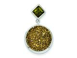 Sterling Silver With Yellow Druzy and Green Cubic Zirconia Round Pendant - Chain Included style: QP2442
