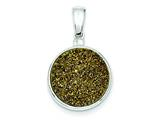 Sterling Silver And Yellow Druzy Round Pendant - Chain Included style: QP2443