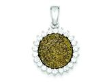 Sterling Silver With Yellow Druzy And Cubic Zirconia Round Pendant - Chain Included style: QP2444