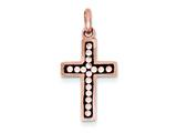 Sterling Silver Pink Ceramic Rose Swarovski Elements Cross Pendant - Chain Included style: QP2451