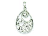 Sterling Silver Cubic Zirconia and Stellux Crystal Pendant - Chain Included style: QP2471