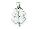 Sterling Silver Preciaos Crystal Clover Pendant - Chain Included style: QP2474