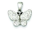 Sterling Silver Crystals Small Butterfly Pendant - Chain Included style: QP2475