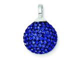 Sterling Silver Stellux Crystal 12mm Blue Ball Pendant - Chain Included style: QP2510