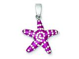 Sterling Silver Rhodium and Ferido Pink Stellux Crystal Star Fish Pendant - Chain Included style: QP2513