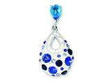 Sterling Silver Blue And White Stellux Crystal Teardrop Pendant - Chain Included style: QP2516