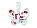 Sterling Silver Multi-stellux Crystal White Butterfly Pendant - Chain Included style: QP2521
